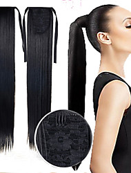 Excellent Quality Synthetic 22 Inch Long Straight Ribbon Ponytail Hairpiece Black Color Hair