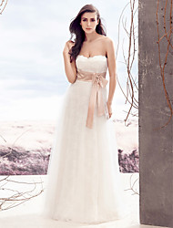 LAN TING BRIDE A-line Wedding Dress Lacy Look Floor-length Strapless Lace Tulle with Lace