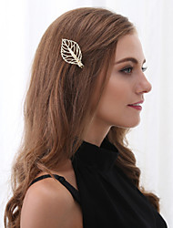 Women Fashion Simple Sweet Metal Leaf Temperament Hairpin Hair Accessories 1pc