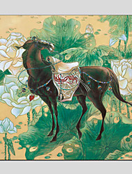 Oil Paintings Modern Flower And Horse Style Canvas Material With Wooden Stretcher Ready To Hang Size 70*70CM