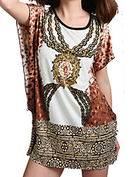 Women's Casual  Day  Boho Print Loose Dress , Round Neck Above Knee Polyester
