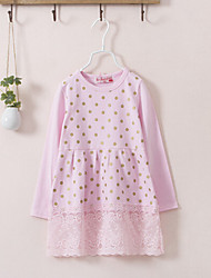 Girl's Casual/Daily Floral Dress,Cotton Spring Fall Long Sleeve