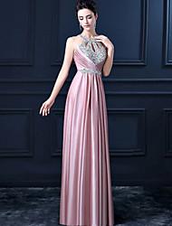 Formal Evening Dress- Pink Sheath Halter Long Floor Length Satin with Sequins Beadings