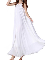 Women's Beach / Casual Solid Swing Dress , Strap Maxi Chiffon