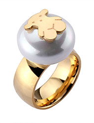 Toonykelly ® Fashionable Stainless Steel Unadjustable Pearl Bear Ring(1pcs)