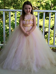 Ball Gown Tea-length Flower Girl Dress - Tulle / Polyester Sleeveless Spaghetti Straps with