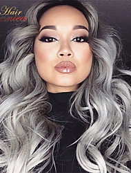 Hot Sale Body Wave Silver Grey Hair Lace Front Wig Glueless Ombre Color Natural Black And Grey Human Hair Wigs