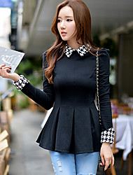 Women's Solid Black Blouse , Houndstooth Lapel Long Sleeve Elegant Shirts