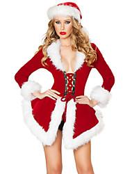Costumes de Cosplay / Costume de Soirée Costumes de père noël Fête / Célébration Déguisement Halloween Rouge Couleur Pleine Robe / Chapeau