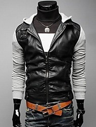 Men's Casual Hooded Motorcycle Leather Jacket , Hoodie