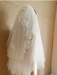 Wedding Veil Four-tier Elbow Veils / Fingertip Veils Cut Edge Tulle White White / Beige