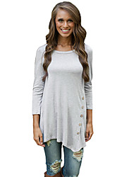 Women Long T-Shirt O-Neck Three Quarter Sleeve Button Asymmetric Hem Casual Tunic Top
