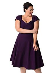 De las mujeres Tallas Grandes Vestido Vintage / Casual Un Color Hasta la Rodilla Escote Cuadrado Algodón