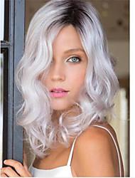 Hot Sale High  Quality Grey  Color  Medium  Syntheic  Wig