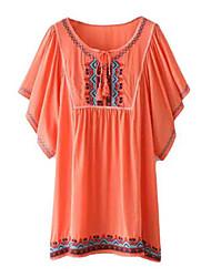 Women's Patchwork Orange Blouse , Round Neck Short Sleeve