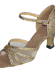 Non Customizable Women's Dance Shoes Latin/ Swing / Salsa/ Samba/ Leatherette /Sparkling Glitter Chunky HeelBlack/ Brown