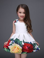 Girl's Floral Dress,Polyester All Seasons White