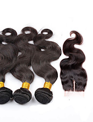 Brazilian Hair Weave Bundles with Closure Middle Part Body Wave Lace Frontal Closure with Bundles 4pcs/lot