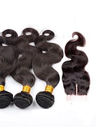 Волосы Уток с закрытием Бразильские волосы Естественные кудри 6 месяца 4 предмета волосы ткет