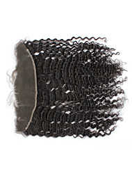 "8""-26"" Natural Black Kinky Curly Human Hair Closure Medium Brown Swiss Lace 50g-60g gram Cap Size"
