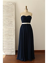 Floor-length Chiffon Bridesmaid Dress - Dark Navy A-line Sweetheart