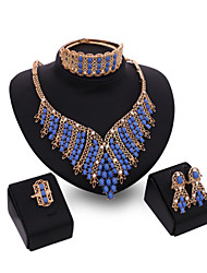 Women Wedding Bohemian Blue Beaded Rhinestone Gold Dinner Party Necklace Earrings Ring Bracelet Four Sets