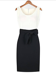 Women's Solid White Black Dress , Casual Round Neck Sleeveless