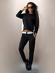 Women's Fall Set,Solid Round Neck Long Sleeve Black Polyester Opaque
