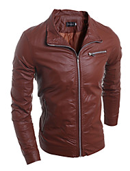 Men's Fashion Style Zipper Decorative Slim Leather Jacket