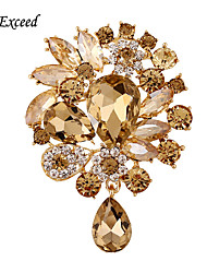 D Exceed New Fashion Clear Crystal Gold Plated Shinging Brooch Pin Jewelry Women