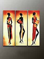 moderna pintura pintados à mão abstrata retrato a óleo, lona três painéis