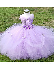 Ball Gown Ankle-length Flower Girl Dress - Tulle / Polyester Sleeveless Off-the-shoulder with