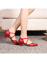 Non Customizable Women's Dance Shoes Leather / Patent Leather Leather / Patent Leather Latin Heels Cuban HeelPerformance / Practice /