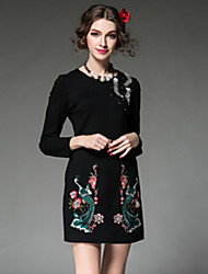 2016 Spring Plus Size Women Dress Vintage Chinese Embroidery Bead Fashion Elegant Party Dress Red/Black