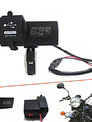 12V-24V Waterproof Motorcycle Car Dual USB Charger with LED Digital Voltmeter Handbar Mount