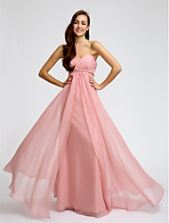 LAN TING BRIDE Floor-length Chiffon Bridesmaid Dress - Sheath / Column Sweetheart with Criss Cross