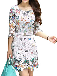 Women's Butterfly Print White Lace Mini Dress, Long Sleeve Round Neck