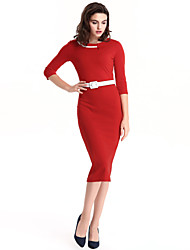 Women's Plus Size / Casual/Daily Vintage / Sophisticated Bodycon DressSolid Round Neck Knee-length  Sleeve Dress