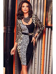 Women's  Three Quarter Sleeves Animal Print Midi Dress