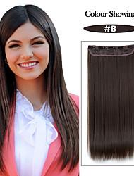 24 pulgadas 120g largo castaño (# 8) resistente al calor de fibra sintética clip recto en extensiones de cabello con 5 clips