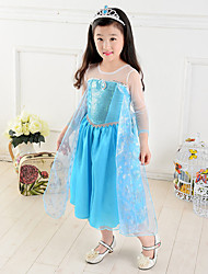 Cosplay Costumes Princess / Fairytale Movie Cosplay Blue Solid Dress Halloween / Christmas / New Year Kid Chiffon