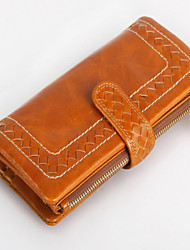 Women 's Oil Wax  Genuine Leather  Large capacity Clutches Wallet Fashion Woven Long Wallet  Purse Handbag