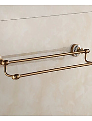 Brass Antique Bathroom Double Layer Towel Rail Porcelain and Aluminum Towel Rack