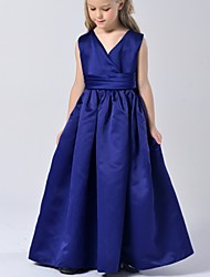 A-line Floor-length Flower Girl Dress - Satin Sleeveless V-neck with