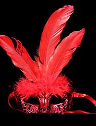 Masque Bal Masqué Ange et Diable Fête / Célébration Déguisement d'Halloween Rouge Doré Argent Couleur Pleine Masque Halloween Carnaval
