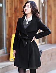 Women's Black/Brown Woolen Trench Coat, Belt included