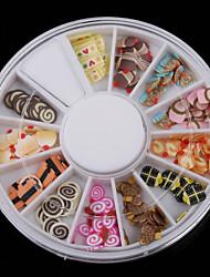 1pcs  6cm  Multicolor Camilan Fimo Nail Art kuku Tips Slice Dekorasi Roda
