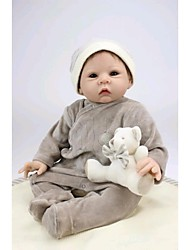 NPKDOLL Reborn Baby Doll Soft Silicone 22inch 55cm Magnetic Mouth Lifelike Cute Lovely Toy Boy Gray