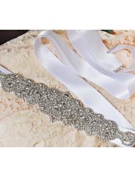 Faixa Cetim Faixas para Mulheres Casamento / Festa/Noite / Dia a Dia Paetês / Miçangas / Apliques / Cristal / Pedraria