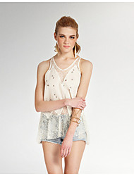 Women's Solid White / Brown Blouse , Strap Sleeveless